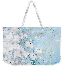 Weekender Tote Bag featuring the painting Shabby Nine by Laura Lee Zanghetti