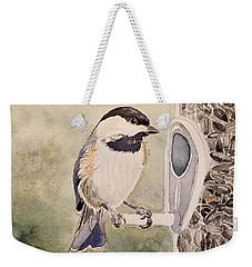 Shades Of Black Capped Chickadee Weekender Tote Bag