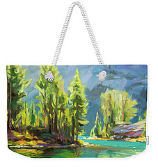 Weekender Tote Bag featuring the painting Shades Of Turquoise by Steve Henderson