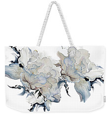 Weekender Tote Bag featuring the painting Shades Of White Peony by Hanne Lore Koehler