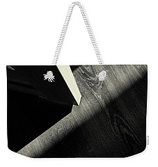 Weekender Tote Bag featuring the photograph Shadow Light Door Abstract One by John Williams