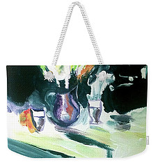 Weekender Tote Bag featuring the painting Shadow Stillness by John Jr Gholson