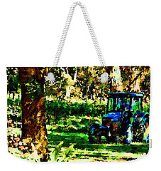 Weekender Tote Bag featuring the painting Shady Tractor by Angela Treat Lyon
