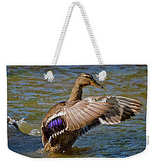 Weekender Tote Bag featuring the photograph Shake It Off by Linda Unger