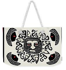 Weekender Tote Bag featuring the digital art Shaman Sun Spirits by Vagabond Folk Art - Virginia Vivier