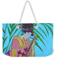 Weekender Tote Bag featuring the painting Shamisen-three-strings by Denise Weaver Ross