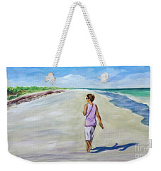Weekender Tote Bag featuring the painting Shannon At Pink Sands by Patricia Piffath