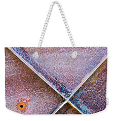 Weekender Tote Bag featuring the photograph Shapes And Textures On Bunker Door by Gary Slawsky