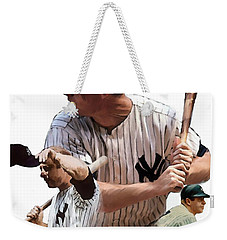 Shared Legacy Mickey Mantle Weekender Tote Bag by Iconic Images Art Gallery David Pucciarelli