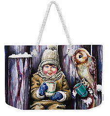 Sharing A Hot Chocolate Weekender Tote Bag by Geni Gorani
