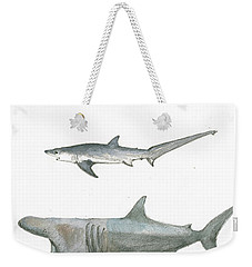 Sharks In The Deep Ocean Weekender Tote Bag by Juan Bosco