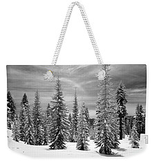 Weekender Tote Bag featuring the photograph Shasta Snowtrees by Martin Konopacki