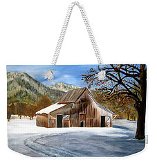 Weekender Tote Bag featuring the painting Shasta Winter Barn by LaVonne Hand