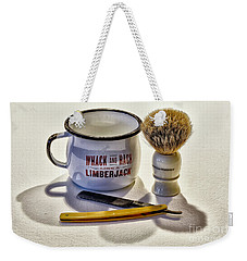 Weekender Tote Bag featuring the photograph Shaving Still Life by Walt Foegelle