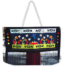 Weekender Tote Bag featuring the tapestry - textile Shawl - Lost Birds Return by Chholing Taha