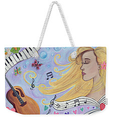 She Dreams In Music Weekender Tote Bag