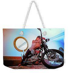 Weekender Tote Bag featuring the photograph She Rides- by JD Mims