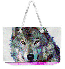 Weekender Tote Bag featuring the mixed media She Wolf by Charles Shoup