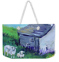 Weekender Tote Bag featuring the painting Sheep In Scotland  by Claire Bull