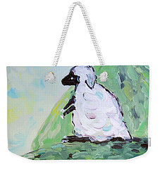 Weekender Tote Bag featuring the painting Sheep On A Hill by Maria Langgle