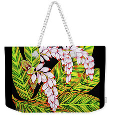 Shell Ginger Flowers Weekender Tote Bag by Debbie Chamberlin
