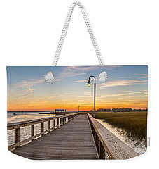 Shem Creek Pier Panoramic Weekender Tote Bag