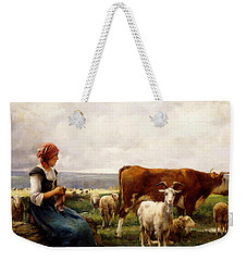 Shepherdess With Cows And Goats Weekender Tote Bag by Julien Dupre