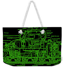 Weekender Tote Bag featuring the drawing Sherman M4a4 Tank by Robert Geary