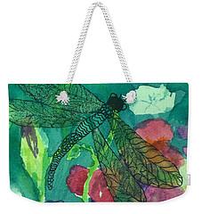 Shimmering Dragonfly W Sweetpeas Square Crop Weekender Tote Bag