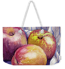 Weekender Tote Bag featuring the painting Shine On 3 Apples by Kris Parins