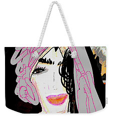 Weekender Tote Bag featuring the mixed media Shining Star by Ann Calvo