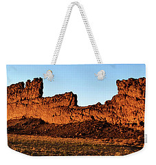 Shiprock Lava Wall 003 Panorama Weekender Tote Bag by George Bostian