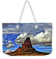 Weekender Tote Bag featuring the photograph Shiprock Panorama by Scott Mahon