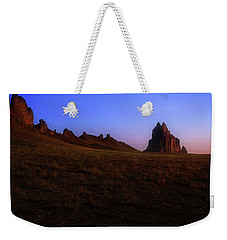Weekender Tote Bag featuring the photograph Shiprock Under The Stars - Sunrise - New Mexico - Landscape by Jason Politte