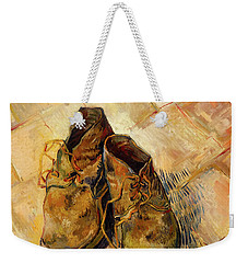 Weekender Tote Bag featuring the painting Shoes                                   by Vincent van Gogh