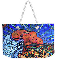 Weekender Tote Bag featuring the painting Shofar by Rae Chichilnitsky