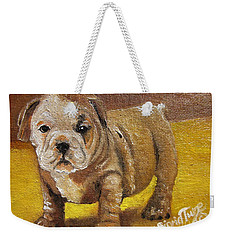 Chloe The   Flying Lamb Productions      Shortstop The English Bulldog Pup Weekender Tote Bag