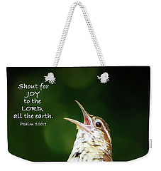Weekender Tote Bag featuring the photograph Shout For Joy by Kerri Farley