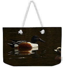 Weekender Tote Bag featuring the photograph Shovel Tail And A Wigeon by Jeff Swan
