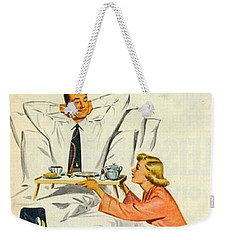 Weekender Tote Bag featuring the digital art Show Her It's A Man's World by Reinvintaged