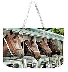 Show Horses On The Move  Weekender Tote Bag by Wilma Birdwell