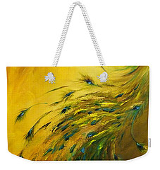 Show Off 1 Vertical Peacock Weekender Tote Bag by Dina Dargo
