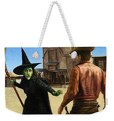 Weekender Tote Bag featuring the painting Showdown by James W Johnson
