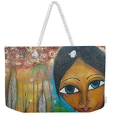 Weekender Tote Bag featuring the mixed media Shower Of Roses by Prerna Poojara