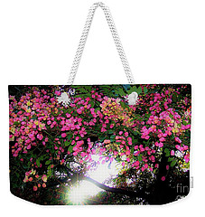 Weekender Tote Bag featuring the photograph Shower Tree Flowers And Hawaii Sunset by D Davila