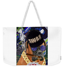 Weekender Tote Bag featuring the mixed media Showing My Cards by Marvin Blaine