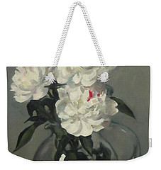 Showy White Peonies In Glass Pitcher Weekender Tote Bag