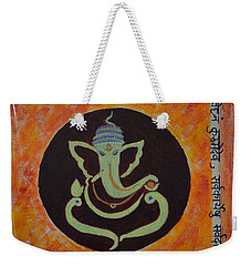 Weekender Tote Bag featuring the painting Shri Ganeshay Namah by Sonali Gangane