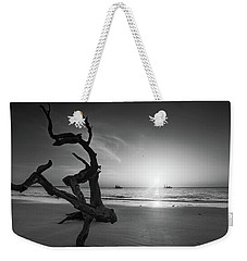 Shrimp Boats And Driftwood In Black And White Weekender Tote Bag