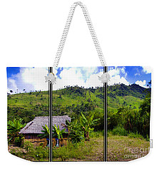 Weekender Tote Bag featuring the photograph Shuar Hut In The Amazon by Al Bourassa